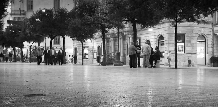 Dusk at city square of Martina Franca